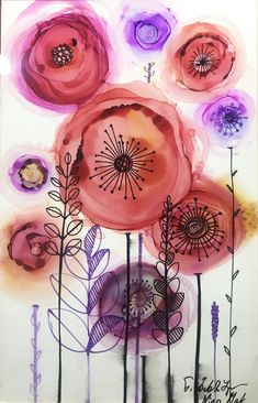 "Get wonderful ideas on ""abstract art paintings acrylics"". They are actually on call for you on our web site. Alcohol Ink Crafts, Alcohol Ink Painting, Alcohol Ink Art, Watercolor And Ink, Watercolor Flowers, Happy Paintings, Art Paintings, Whimsical Art, Doodle Art"