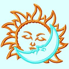 Sun kiss Moon Outline Embroidery Design 3 sizes by LunaEmbroidery Pictures Of The Sun, Moon Pictures, Moon Pics, Hand Embroidery, Machine Embroidery, Embroidery Designs, Rope Font, Sun Silhouette, Tags