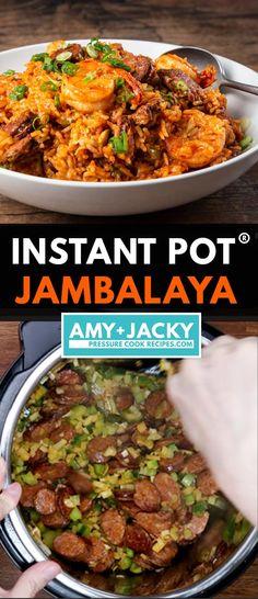 Pressure Cooker Chicken, Pressure Cooker Recipes, Pressure Cooking, Jambalaya Recipe Instant Pot, Instant Pot Dinner Recipes, Jumbalaya Recipe, Chicken And Sausage Jambalaya, One Pot Meals, Chicken Recipes
