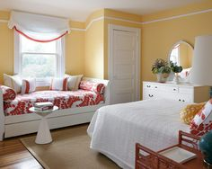 Great idea to have a daybed and trundle, along with a queen bed.  A little crowded, but could get four in here for those holiday weekends.  Traditional Bedroom Guestroom Design, Pictures, Remodel, Decor and Ideas
