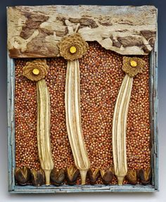 """Seed Mosaic):  Birdseed, Dried Okra, Dried Lemon Peel, Wooden Sticks, """"Summer Day"""" - designed and created by Karen J Lauseng)."""