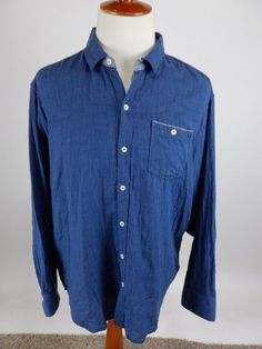 TOMMY BAHAMA Indigo Solid Blue Chambray Flannel Long Sleeve Button Shirt Men XLX #TommyBahama #ButtonFront