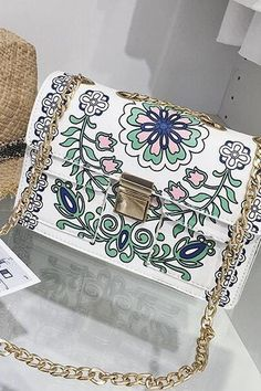 f87cfb3b28a1 Colorful Floral Printing Chain Crossbody Bag Chain Crossbody Bag