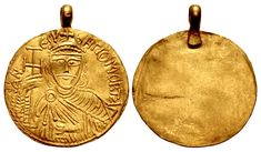 "BULGARIA, First Empire. Omurtag. Kanasubigi, 814-831. AV Medallion (22mm, 3.07 g). CAN ЄSV bHГI OMORTAГ, crowned and draped facing bust, holding cross potent and akakia / Blank. F. Curta, ""Qagan, khan or king? Power in early medieval Bulgaria (seventh to ninth century)"" in Viator 37 (2006), 1-31; Skorpil 151. Lightly toned, slight scuff on reverse. EF. With original suspension loop attached. Possibly the third known example. The Bulgars had been loosely confederated King Power, Bulgaria, Archaeology, Medieval, Christmas Ornaments, The Originals, Holiday Decor, Third, Empire"