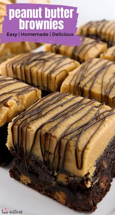 Peanut Butter Brownie Bars - brownies chock full of chocolate chips and peanut butter chips and topped with our Best Peanut Butter Buttercream Frosting. Classic Desserts, Great Desserts, Köstliche Desserts, Best Dessert Recipes, Delicious Desserts, Peanut Butter Brownies, Peanut Butter Recipes, Chocolate Chip Cookies, Chocolate Chips