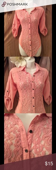 Maurices 3/4 Sleeve Lace Top Beautiful Blush pink Maurices 3/4 Sleeve mixed media Top size XS. Great Condition no stains or rips. Very Pretty and flattering. Spread Collar. Button down with Beautiful Lace front. Long sleeve with button tab cuffs. Shirttail hem that hits below hip,  % Rayon, Lace 47% Cotton 42%Nylon 11%Rayon. If you have any questions at all please feel free to ask me anything. Also, Thank you so much for visiting my closet! Leave your posh name in the comments and I will…