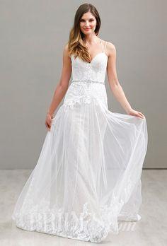 A Ti Adora by @alvinavalenta wedding dress with a gauzy skirt | Brides.com