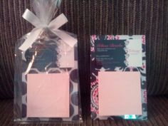 Hostess gift: Plastic Magnetic picture frame + fabric swatch + business card + post it pad  Love it!