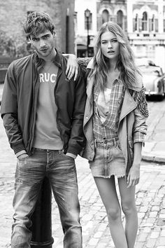 Top Model Behati Prinsloo teams up with models George Alsford and Marta Dyks for Pepe Jeans Spring Summer 2014 campaign captured by fashion photographer Josh Olins. Behati Prinsloo, Couple Photography, Photography Poses, Fashion Photography, Couple Posing, Couple Shoot, Pepe Jeans Femme, Stylish Couple, London Spring
