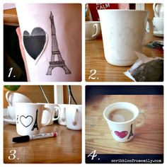 Create dishwasher safe mugs with sharpies and an oven! (via M.M.M. #115)