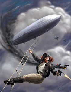 Pulp Adventure by Christopher Appel Steampunk / Dieselpunk inspiration Steampunk Artwork, Steampunk Airship, Dieselpunk, Gothic Steampunk, Victorian Gothic, Gothic Lolita, Zeppelin, Pulp Fiction Art, Pulp Art