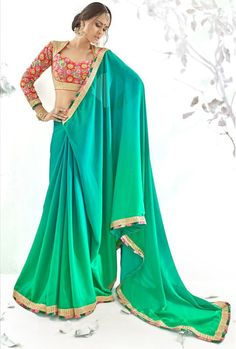 Green Color Crepe Party Wear Sarees :