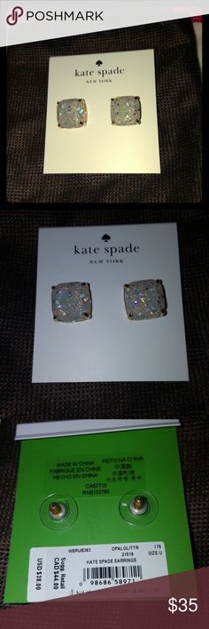 Kate Spade Earrings Gorgeous NWT Kate Spade Earrings with protective bag. I've never worn them but if they don't sell it won't break my heart to keep them. Kate Spade Jewelry Earrings