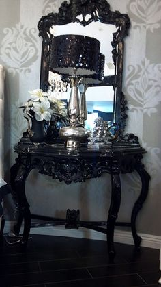 8049 Sequined Lamps + 4555 Baroque Side Table With Mirror by Diva Rocker Glam (310) 652-8711, via Flickr