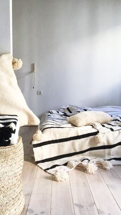Image of Moroccan POM POM Wool Blanket -  Wide Black Stripes