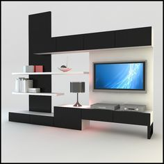 Furniture. Elegant Wall Unit Design Ideas with Wood Material. Black And White Color Scheme Wood Materials Elegant Wall Units With White Wood Two Levels Wall Shelving Also Amazing Rectangle Shaped Wall Mounted Cabinet Inspirations Also Modern TV Stand Table That Have Table Lamp.