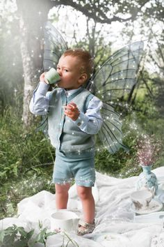 Memini children`s wear by Kristine Vikse, Norwegian design, organic cotton, baby and kids ss2016. Tea party, pixie, elf, baby boy, fairytale