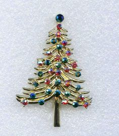 "Vtg DODDS Christmas Tree Gold Tone Grn Red AB Rhinestone 2- 9/16"" T Brooch Pin #Dodds11W30St"