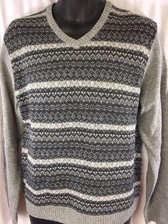 Alan Flusser Mens Sweater Gray Acrylic Wool V-Neckline Ribbed Trim Classic NWT #AlanFlusser #VNeck