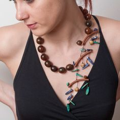 Necklace | Natassa of NatArt Jewellery. Brown Horn Beads ,Sodalite and Turquoise.