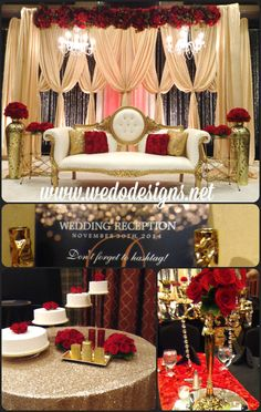 Hollywood glam wedding, red, gold and black. Gold Sequin table cloth, red rosette runners, desi wedding stage,
