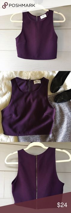 🔮Everly Deep Purple Zipped Back Crop Top🔮 100% Polyester  Bust: 32 inches  Length: 14.5 inches  This people crop top with a zip up back is an absolute wardrobe staple. It's perfect for any season because it can be layered with anything that goes the gorgeous deep purple of the top. EUC. As always, comment with any questions!! Everly Tops Crop Tops