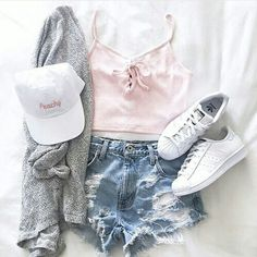 summer outfit, pink lace-up tank, jean shorts, grey cardigan, white sneakers, white hat