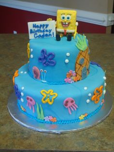 Two tiered fondant spongebob cake.  Used a small rice krispy...