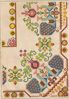 This Pin was discovered by Ολυ Cross Stitch Needles, Cross Stitch Bird, Beaded Cross Stitch, Cross Stitch Borders, Cross Stitch Designs, Cross Stitching, Cross Stitch Patterns, Embroidery Sampler, Folk Embroidery
