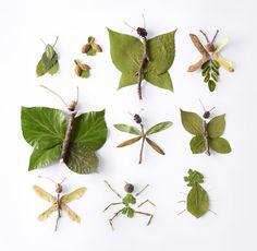 Lav flotte insekter ud fra hvad du finder i naturen. Insect Crafts, Bug Crafts, Leaf Crafts, Insect Art, Nature Crafts, Preschool Crafts, Forest School Activities, Nature Activities, Art For Kids