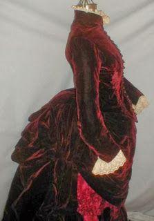 1880's Red Velvet Bustle Gown