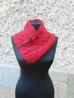 Knitted Cowl Neckwarmer, Knitted Red Scarf, Christmas Gift, Chic Elegant Woman Winter - Knitting creation by etelina Knitting Accessories, Winter Accessories, Red Scarves, Knitted Scarves, Knitting Daily, Mohair Yarn, Knit Cowl, Neck Warmer, Elegant Woman