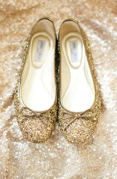 Gold Jimmy Choo wedding flats | Lindsay Hite of Readyluck | Brides.com