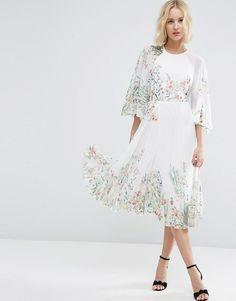 ASOS+Kaftan+Pleated+Midi+Dress+In+Meadow+Floral