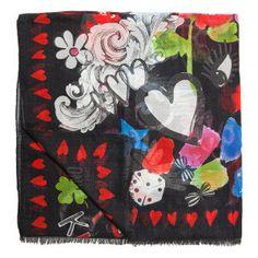 Schal, Printmuster schwarz und rot 180 x 90 cm