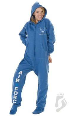 Take a look at this Blue 'U. Air Force' Hooded Footed Pajamas - Adults on zulily today! Air Force Love, Us Air Force, Air Force Clothing, Air Force Girlfriend, Airforce Wife, Military Love, Lounge Wear, Pajamas, Hoodies
