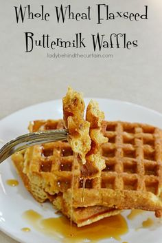 Whole Wheat Flaxseed Buttermilk Waffles | Start your day out right with these Whole Wheat Flaxseed Buttermilk Waffles. This recipe makes 24! That means