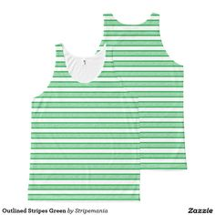 Outlined Stripes Green All-Over-Print Tank Top
