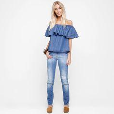 Blusa Forum Ombro A Ombro Babados Jeans | Zattini