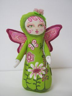 Butterfly Stump Doll by Hally Levesque - hand-painted cloth.