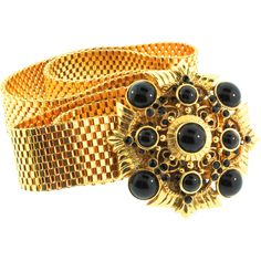 Vintage Rare JOSE BARRERA Couture Runway Black Jeweled Buckle Gold Mesh Metal BELT