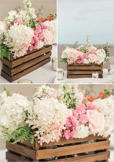 Ideas For Garden Wedding Table Setting Bridal Shower Garden Wedding Decorations, Rustic Wedding Centerpieces, Floral Centerpieces, Floral Arrangements, Wood Box Centerpiece, Table Centerpieces, Garden Party Decorations, Garden Parties, Table Decorations