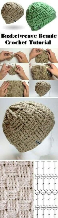 Basketweave Beanie Tutorial Shop accessories for women at Urban Outfitters today. Crochet Crafts, Crochet Yarn, Crochet Stitches, Crochet Projects, Free Crochet, Crochet Beanie Hat, Knitted Hats, Booties Crochet, Knitting Patterns