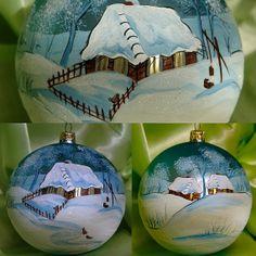 hand painted Christmas ornament hand made glass ball by aniamelisa, $22.95