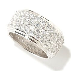 125-584 - BELITA™ Platinum Embraced™ Brilliante® 3.24 DEW Pave Set Eternity Band Ring