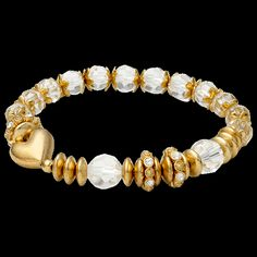 PILGRIM bracelet, gold plated with crystal faceted beads.