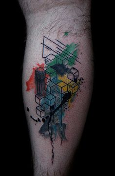 It's my tattoo! abstract geometric watercolor tattoo by Deanna Wardin @ tattoo boogaloo