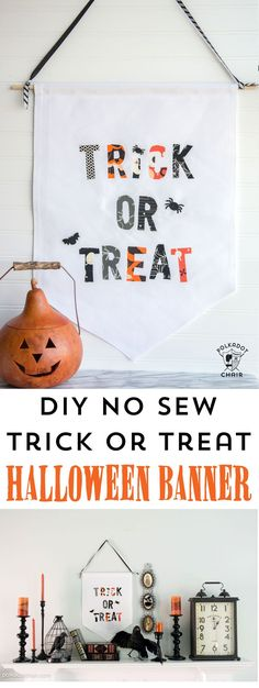 Learn how to make this DIY Trick or Treat Halloween banner using scrap Halloween fabric; a great stash busting project; Halloween Craft Idea
