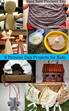 8 Pioneer Day Projects for Kids Housewife Eclectic: 8 Pioneer Day Projects for Kids Pioneer Day Activities, Pioneer Games, Pioneer Trek, Pioneer Life, Activities For Kids, History Activities, Indoor Activities, Pioneer Woman, School Projects