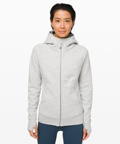 Our signature hoodie is the perfect pre- and post-training layer. Made with Blended Light Cotton Fleece fabric, it's lightweight, warm, and just as comfortable as your favourite sweatshirt—but gives you a put-together look. Lululemon Scuba Hoodie, Lululemon Jacket, Tracksuit Jacket, Cotton Fleece, Fleece Fabric, Cotton Lights, Grey Hoodie, Hoodies, Amigurumi